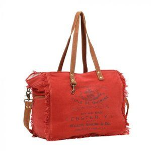 New Carmine Large Canvas Leather Weekender…